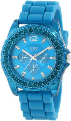 XOXO Womens Turquoise Silicone Strap Watch