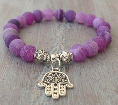Hamsa Bracelet, Bohemian Jewelry, Hamsa Charm, Gemstone Beads, Boho Chic, Hamsa Hand Bracelet, Purple Bracelet, Gemstone Bracelet on Etsy
