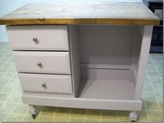 Repurpose furniture: this is an old dresser turned into an kitchen island.   Yelp