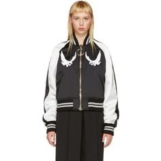Off-White Black and White Cropped Souvenir Jacket (2,155 CAD) ❤ liked on Polyvore featuring outerwear, jackets, black, black and white jacket, color block jacket, embroidered jacket, black and white bomber jacket and color block bomber jacket