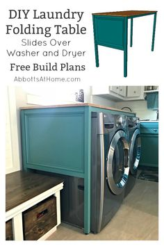 Free Build Plans for this Over Washer and Dryer DIY Laundry Table. This simple build hides those ugly machines, adds extra style and organization. And works as a Laundry Folding table too! Woodworking Table, Laundry Table, Repurposed Furniture Diy, Diy Table, Laundry Dryer, Woodworking Plans Diy, Diy Laundry, Washer And Dryer, Wood Diy