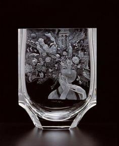 Moser vase engraved with illustration by Josef Palecek