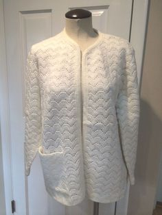 Vintage White Open Front Knit Cardigan #Sears