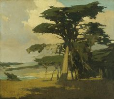 Arthur Frank Mathews (American A Tonalist painter and one of the founders of the American Arts and Crafts Movement. He was married to fellow artist Lucia Kleinhans Mathews. Landscape Art, Landscape Paintings, Landscapes, Seascape Paintings, Art Nouveau, Arts And Crafts Movement, Illustrations, Plein Air, Tree Art
