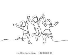 Continuous line drawing. Vector illustration on white background Abstract Drawings, Abstract Lines, Art Drawings, Holding Hands Drawing, Drawing Hands, Free Vector Images, Vector Free, Children Holding Hands, Doodle Images