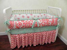 Custom Baby Crib Bedding Set Desiree Coral by BabyBeddingbyJBD