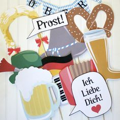 Get your order today, in time for your Oktoberfest Celebration. These are the Original Oktoberfest Photo Booth Props. Photo props are all the rage these days. What a fun way to liven up your Oktoberfest celebration this year. These props are perfect for any age.  This set includes: Two Hats Blonde Braids Beer Stein and Beer Boot German Flag Accordian Bowtie and Necktie Ich Liebe Dich Sign Prost Signs (2) Pretzel Pretzel Glasses Oktobefest Garland   HOW TO ORDER: • Just purchase this listing…
