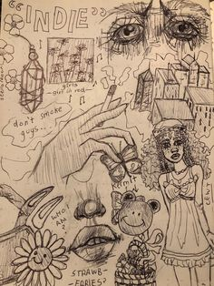 Indie Drawings, Psychedelic Drawings, Cool Art Drawings, Art Drawings Sketches, Arte Grunge, Grunge Art, Art Journal Inspiration, Art Inspo, Arte Peculiar
