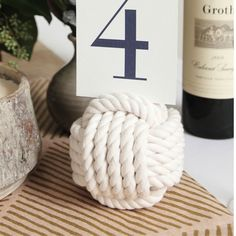 Nautical Wedding Knot Monkey Fist Centerpiece Card Holder White Monkey fist knots are 3 inches across and made with inch bright white cotton rope in 3 Nautical Wedding Centerpieces, Party Centerpieces, Wedding Reception Decorations, Wedding Themes, Wedding Designs, Wedding Cards, Wedding Ideas, Themed Weddings, Nautical Wedding Decor