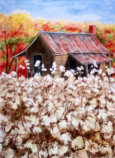 Cotton Barn by Barbel Amos - Cotton Barn Painting - Cotton Barn Fine Art Prints and Posters for Sale