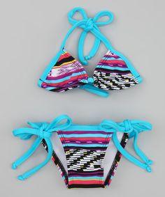 www.makenasurfwear.com Blue Tribal Triangle Bikini - Toddler #zulily #zulilyfinds