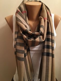 A personal favorite from my Etsy shop https://www.etsy.com/listing/258416175/20-salestripe-beige-scarf-brown