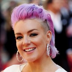 Sheridan Smith purple Mohawk