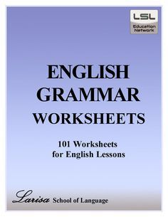 h Grammar Worksheets for English Learners English grammar worksheets for everyone. These worksheets are a favorite with students young and not. Larisa School of Language created over 100 worksheets to help anyone learn English. English Grammar Tenses, English Grammar Worksheets, English Vocabulary, Learn English Grammar, School Worksheets, Simple English Grammar, Printable Worksheets, Grammar Book Pdf, English Tips