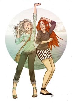 Ginny Weasley and Luna Lovegood art by drakonarinka.deviantart.com