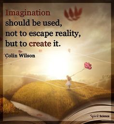 Imagination should be used, not to escape reality, but to create it.  Colin Wilson.