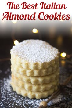 These Italian Almond Cookies are a soft cut out cookie, fast and easy to make. Made with only 6 ingredients they make a nice addition to your Holiday Cookie tray, or bake them any time of the year for a sweet treat. Use flower-shaped cookie cutters for spring and summer! #dessert #almondcookies Sweet Desserts, Easy Desserts, Delicious Desserts, Italian Desserts, Cookie Tray, Shaped Cookie, Cookie Cutters, Bar Recipes, Cookie Recipes