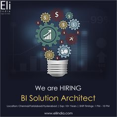 BI Solution Architect Jobs in Chennai Faridabad Hyderabad - Eli India Solution Architect, We Are Hiring, Job Opening, Hyderabad, Chennai, Career, How To Apply, India, Carrera