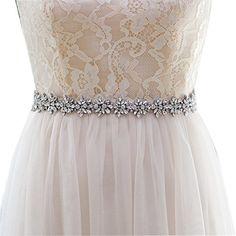 Top Queen Women's Crystal Diamond Bridal Belt Sashes Wedding Belts Sash for Wedding Dress (Ivory)