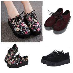 Creepers Scarpe Donna Zeppa  Lacci Gotico Punk Shoes Women LACE sneakers boots [EUR 39,24.5Cm,Black]