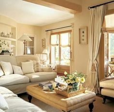 37 Tips to Decorate a Long Wall in Living Room – Living Room Cozy Cream Living Rooms, Cottage Living Rooms, Home Living Room, Interior Design Living Room, Living Room Designs, Living Room Decor, Cozy Living, Monochromatic Room, Salons Cosy