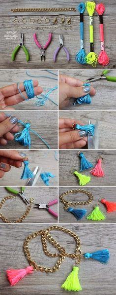 Easy DIY Crafts: Neon Tassel Bracelets