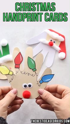 kids crafts slime kinderhandwerk CHRISTMAS HANDPRINT CARDS - love these easy Christmas cards for kids to make! If youre looking for Christmas crafts for kids, toddlers, preschool or kindergarten these would be perfect to make! Kids Crafts, Toddler Crafts, Preschool Crafts, Crafts For Babies, Craft Kids, Hand Crafts, Craft Projects For Kids, Preschool Classroom, Project Ideas