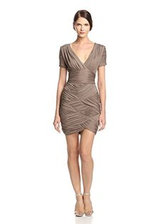 www.myhabit.com  Short sleeve jersey dress with allover ruching, surplice neckline and hidden side zipper