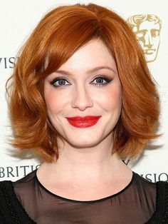 Christina Hendricks | Mad Men screen siren Christina Hendricks' bob is one of the most flattering options around, thanks to its delicate side-swept bangs and face-framing waves. To get the look, curl front sections around a large-barrel iron, wrapping strands in the direction away from your face. via @stylelist