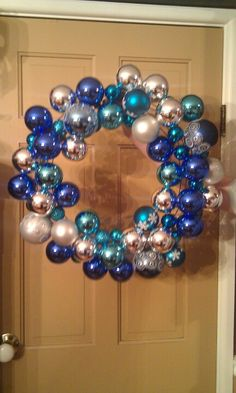 Blue White and Silver Ornament Wreath
