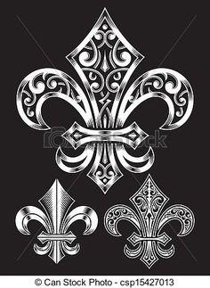Vector Clip Art of Vintage Heraldry Fleur De Lis Set - fully ...