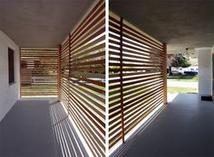Thinking of using this slat screen idea to make a surround for our trash bins.  Pretty and functional.