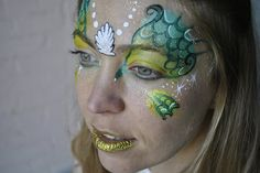 mermaid face painting - love the scales Dragon Face Painting, Body Painting, Pirate Face Paintings, Mermaid Face Paint, Monster Makeup, Face Painting Designs, Fantasy Makeup, Girl Face, Face Art