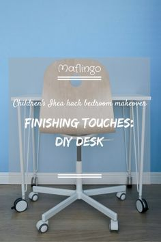 DIY desk with text overlay saying 'Childrens Ikea Hack Bedroom makeover: Finishing touches DIY Desk Ikea Hack Bedroom, Ikea Bed Hack, Ikea Furniture Hacks, Ikea Desk, Diy Desk, Ikea Nordli, Best Ikea, Diy Craft Projects, Text Overlay