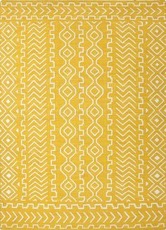 Flat-weave tribal yellow/ivory wool area rug, 'Directional' - Flat-Weave Tribal Yellow/Ivory Wool Area Rug