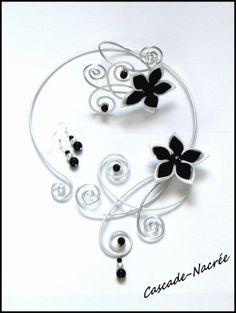 ˚•●๑ Céline parure mariage noir et blanc bijou fleur satin alu