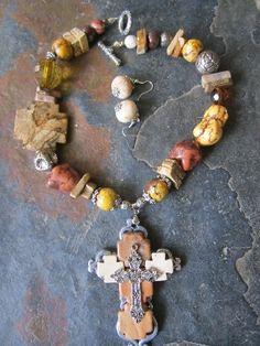 Handmade Cross Chunky Turquoise Jasper Necklace