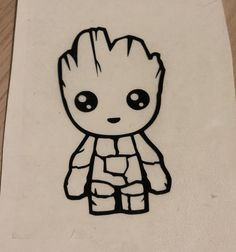 Baby Groot decal, Guardians of the Galaxy sticker, avengers laptop decal, infinity war, Groot sticke Cute Small Drawings, Easy Disney Drawings, Cute Cartoon Drawings, Pencil Art Drawings, Doodle Drawings, Art Drawings Sketches, Baby Groot Drawing, Small Doodle, Simple Cartoon