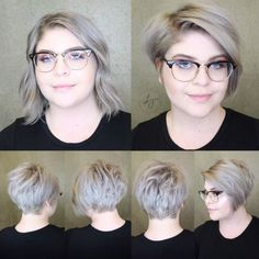 going going pixie! transformations like this babes are what it s about! she has never had hair this short and it what is your go to pixie product that you cant live without Bobs For Round Faces, Pixie Haircut For Round Faces, Pixie Bob Haircut, Round Face Haircuts, Hairstyles For Round Faces, Pixie Hairstyles, Medium Hairstyles, Short Hair For Chubby Faces, Chubby Face Haircuts