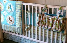 Crib Bedding Set Woodland Tails in Blue by butterbeansboutique, $399.00