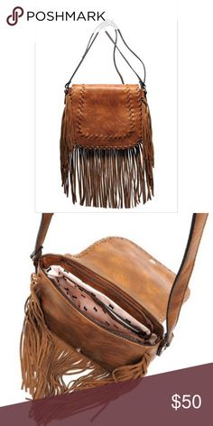 "✨PREORDER✨ Western fringe flap cross body Preorder yours now! Beautiful fringe cross body with a fold over magnetic flap. Faye leather. There is also a back zip up pocket. The shoulder strap is adjustable. Measurements are 10.5""(L) x 9""(H) x 3.5""(W). Color is brown Busted Boot Boutique Bags Crossbody Bags"