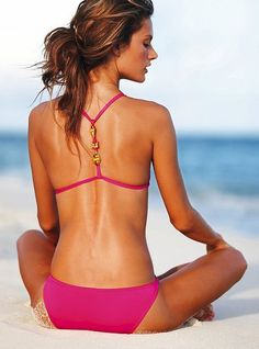 Fuschia Swim Suit, love the back beaded part