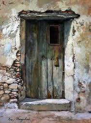 Watercolours of doors, windows . Cool Doors, Unique Doors, Rustic Doors, Doorway, Windows And Doors, Painting Inspiration, Watercolor Paintings, Watercolours, Entrance