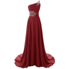 Anlin Womens Beaded One Shoulder Prom Dress Long Chiffon Bridesmaid... ($53) ❤ liked on Polyvore featuring dresses, gowns, prom dresses, long prom dresses, long red evening dress, long bridesmaid dresses and long party dresses
