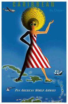 Caribbean * Pan Am travel poster