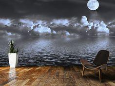 Moon Seascape wall mural room setting