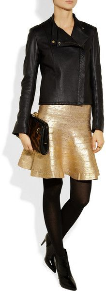 HERVÉ LÉGER  Metalliccoated Bandage Flared Skirt