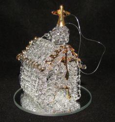 Spun Glass Christmas Ornament Church Chapel Figurine 24K Gold Plated Mirror MIB