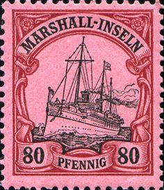 "Marshall Islands 1901 Yacht ""Hohenzollern II"" Issue  [MiNr 21, Sc 21] 80pf"