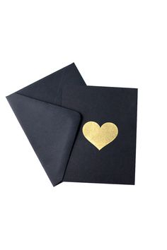 Gold heart, black card.